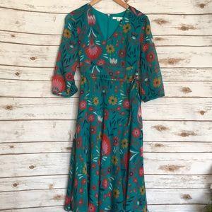 Boden • teal base floral long sleeve dress